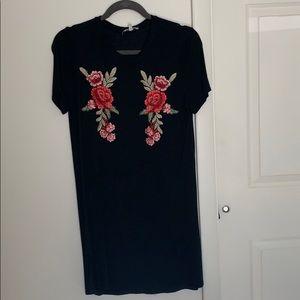 Charlotte Russe black floral T shirt dress